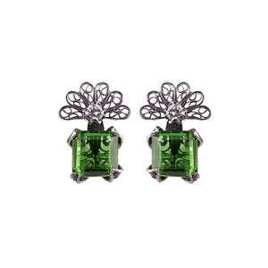 Zinnia flower earrings - emerald green_E4317 by Yvone Christa