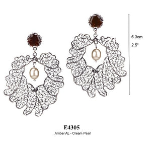 Crown leaf post earrings - large