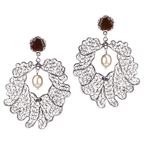 Crown leaf earrings - large_E5114 by Yvone Christa