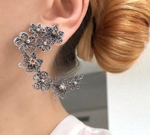 Flower meadow earrings - apricot cz