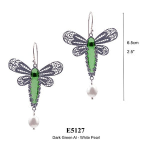Dragonfly earrings - emerald green