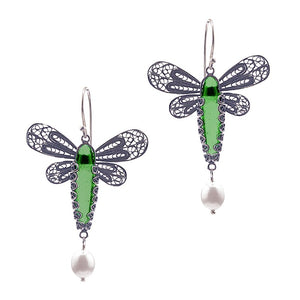 Dragonfly earrings - emerald green_E5127 by Yvone Christa