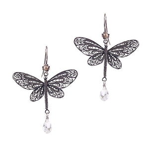 Dragonfly earrings - cz briolette_E5130 by Yvone Christa