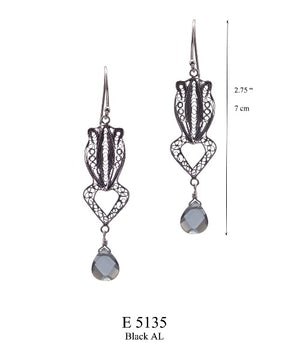 Frog earrings with black agua lemuria