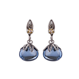 BLUE DEW DROP EARRINGS ON PETAL _E5167 by Yvone Christa