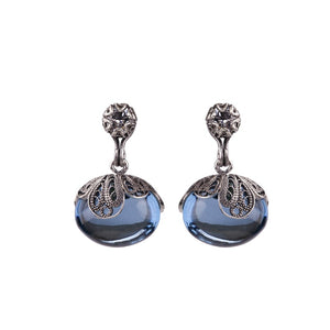 YVONE CHRISTA_BLUE DEW DROP EARRINGS ON TULIP CUP_E5184