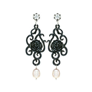 HAND CARVED BLACK ROSE EARRINGS