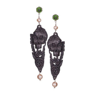 Hand carved black Skull earrings