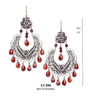 Frida chandelier earrings - red cz briolettes