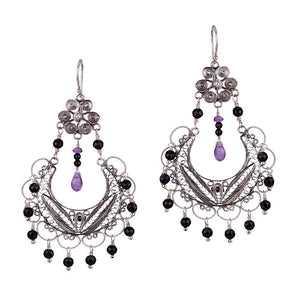 EC886_Jet_ FRIDA CHANDELIER EARRINGS by YVONE CHRISTA
