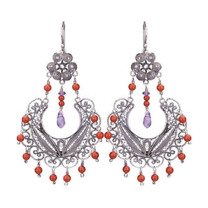 Yvone Christa_EC886_Red Coral_FRIDA CHANDELIER EARRINGS