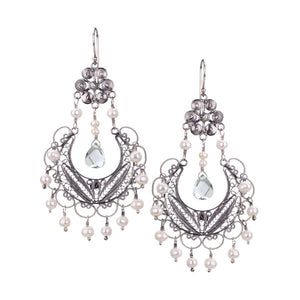 EC886g FRIDA CHANDELIER EARRINGS - Green Aqua Lemura