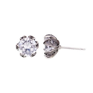Yvone Christa_ECZ001c_TULIP CUP STUD EARRINGS WITH CUBIC ZIRCONIA - SMALL