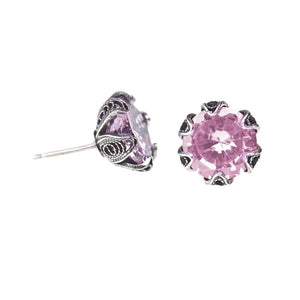 Yvone Christa_TULIP CUP STUD EARRINGS - PINK CZ - MEDIUM_ECZ002 pink