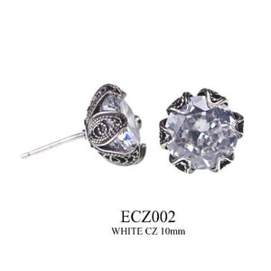 Tulip cup stud earrings - clear cz - medium
