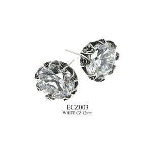 Tulip cup stud earrings - clear cz - large