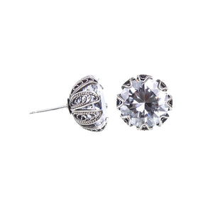 Yvone Christa_TULIP CUP STUD EARRINGS - CLEAR CZ - LARGE_ECZ003