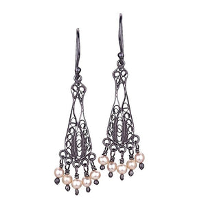RDE3831 VICTORIAN BLACK FILIGREE EARRINGS by Yvone Christa