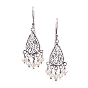 E3333_White pearls_SMALL TEARDROP FILIGREE EARRINGS by Yvone Christa