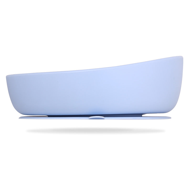 les enfants silicon bowl that sticks to flat surface eating collection blue side view