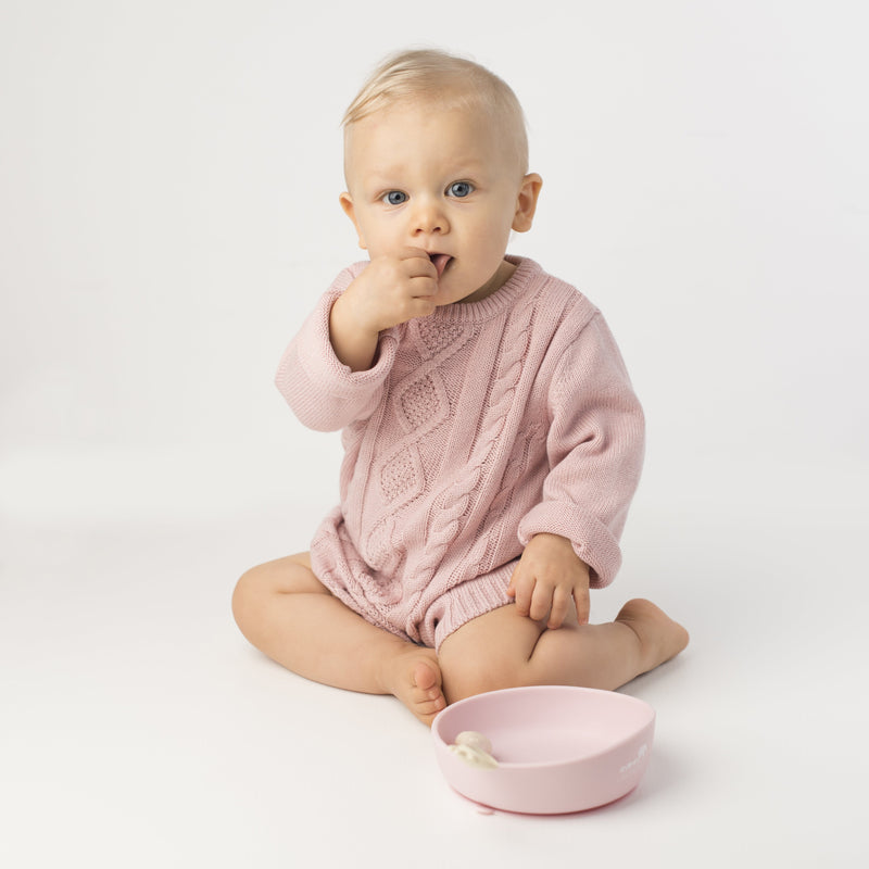 Les Enfants Silicon Baby Bowl and cutlery set pink and sand with baby
