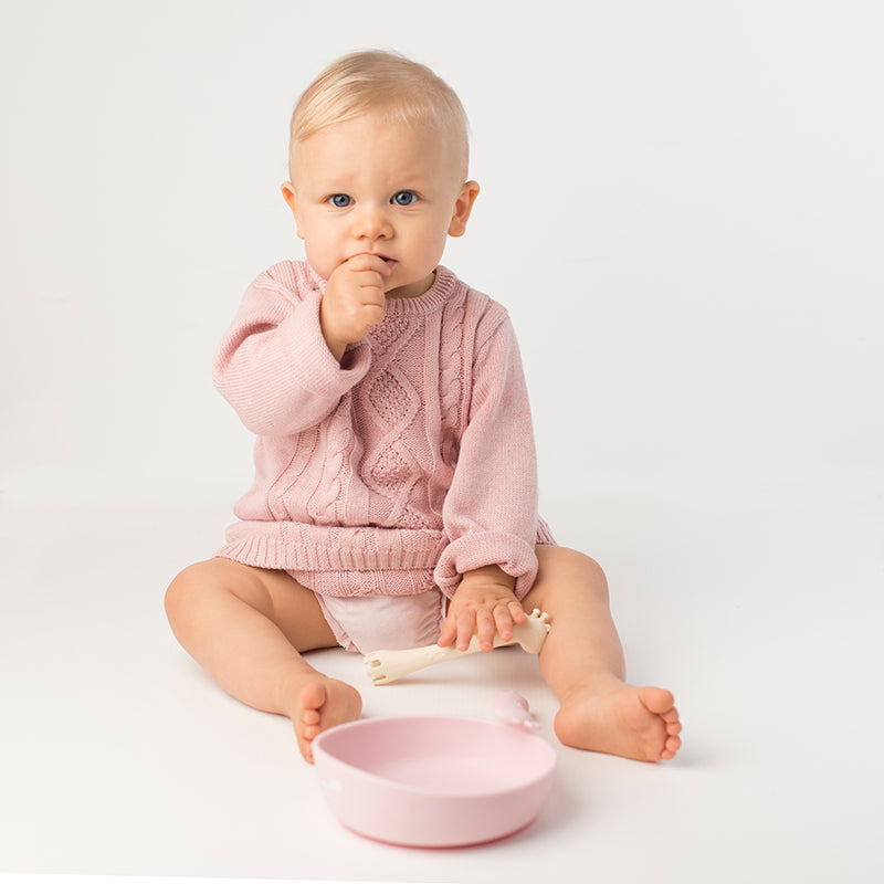 Les Enfants Silicon Baby Bowl and cutlery set pink and sand baby model eating