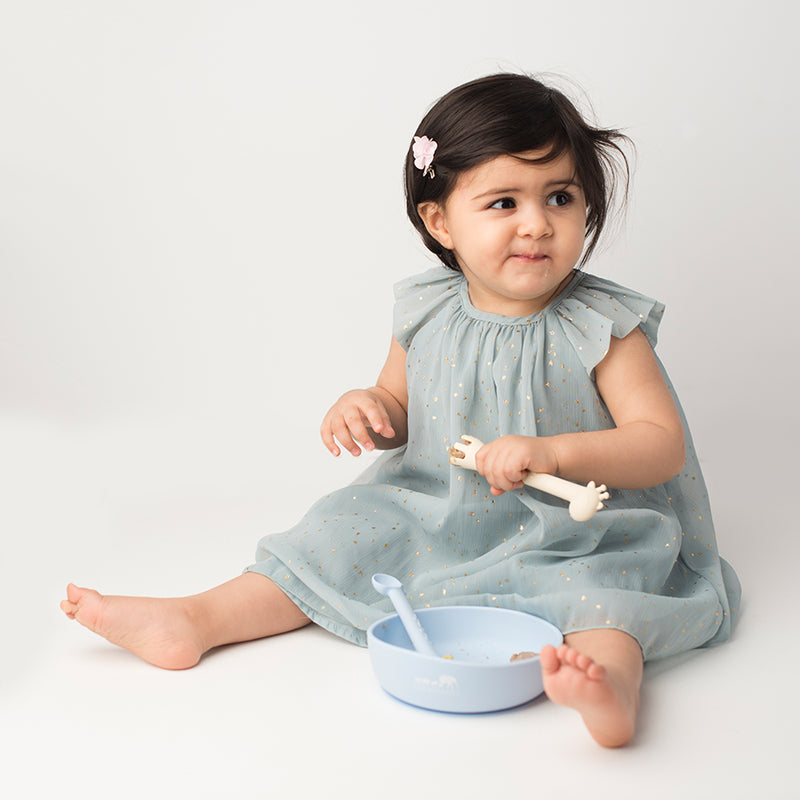 Les Enfants Silicon Baby Bowl and cutlery set Blue baby model