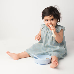 LES ENFANTS SILICON BABY BOWL AND CUTLERY SET WITH BABY MODEL