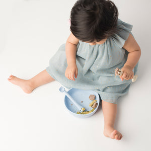 Les Enfants Silicon Baby Bowl and cutlery set Blue sand baby model top view
