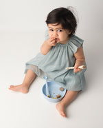Les Enfants Silicon Baby Bowl and cutlery set Blue baby model eating