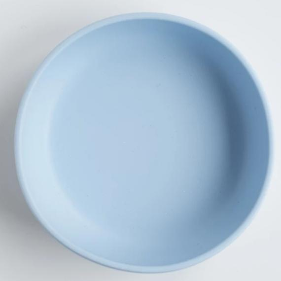 les enfants silicon bowl that sticks to flat surface eating collection blue