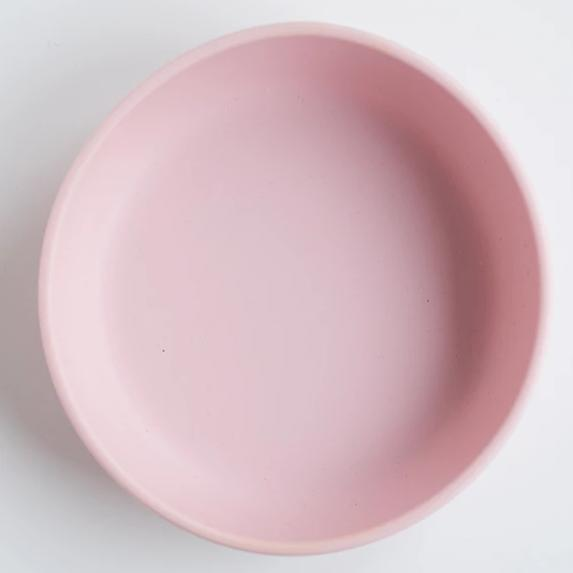 les enfants silicon bowl that sticks to surface eating collection pink aeriel view