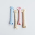 Les Enfants Silicon Baby Cutlery Set giraffe spoon and fork duo in all colours Pink Blue Sand