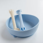 Les Enfants Silicon Baby Bowl & Cutlery Set - Blue