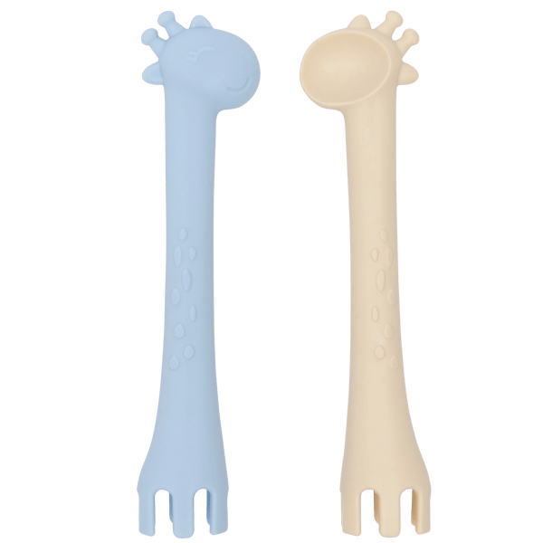 Les enfants cutlery set blue and sand giraffe spoon and fork duo