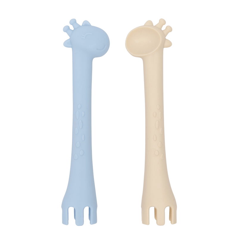 les enfants silicon giraffe spoon fork duo eating collection teething toy blue and sand