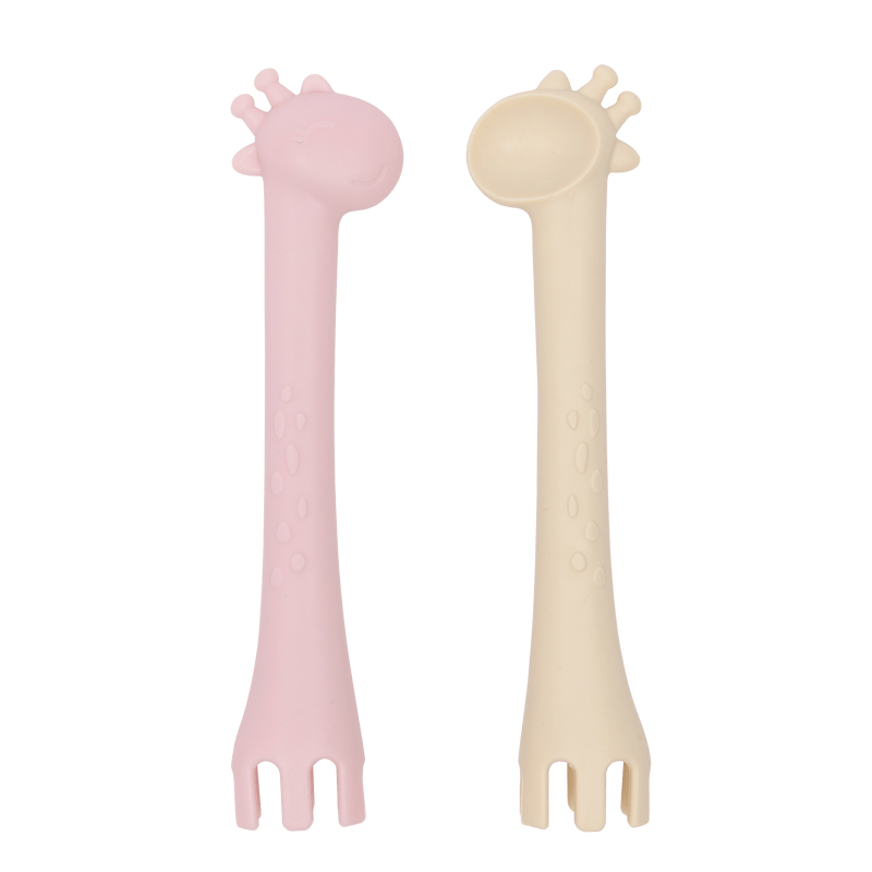 Les Enfants Silicone Baby Cutlery spoon & fork unit Pink and sand