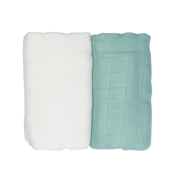 LES ENFANTS Muslin Blanket Green / White