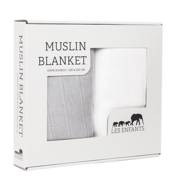 Les enfants 100% bamboo muslin blanket grey and white set in a present box