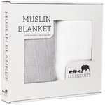 Les Enfants pack of Muslin blankets, 1 white & 1 grey