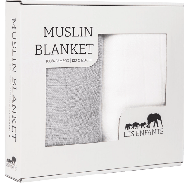 Les Enfants pack of Muslin blankets, white & grey