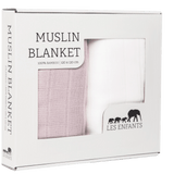 Les Enfants pack of Muslin blankets, white & pink