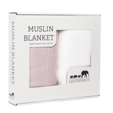 one pack 100% bamboo muslin blanket pink and white set