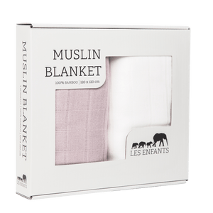 les enfants 100% bamboo mulisn blanket set pink and white in a presentation box
