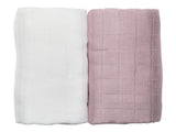 les enfants muslin blanket pack 100% bamboo without presentation box gift pack pink white