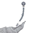The Les Enfants Chewy Pacifier Clip grey with a cloth security blanket
