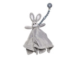 The Les Enfants Chewy Pacifier Clip grey with a soft rabbit toy
