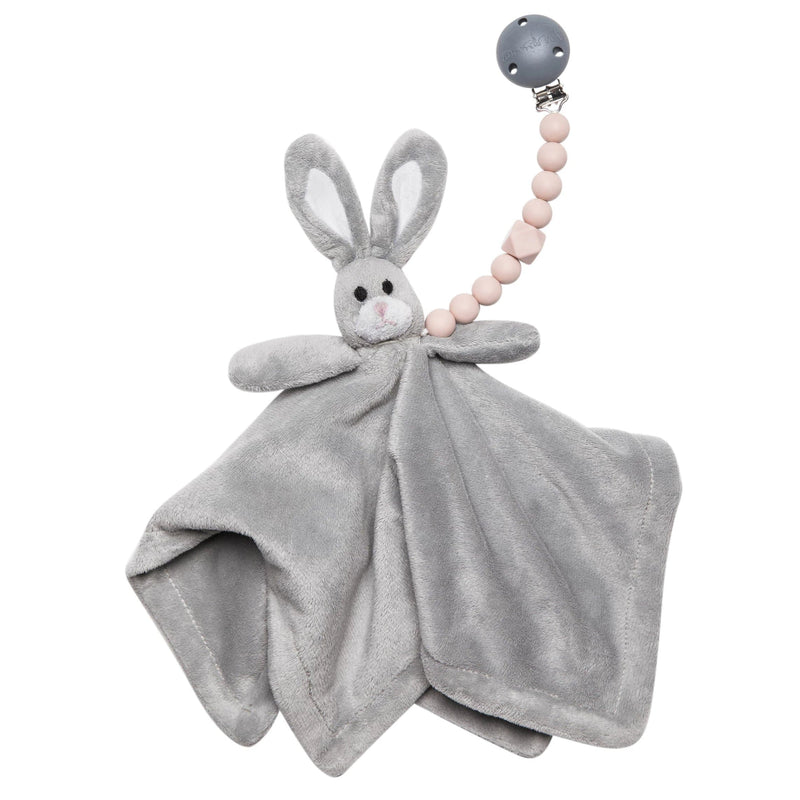 The Les Enfants Chewy Pacifier Clip pink attached to soft rabbit toy