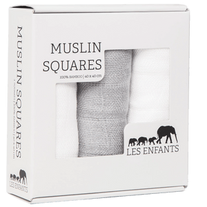 Les Enfants pack of Muslin squares, 2 whites & 1 grey