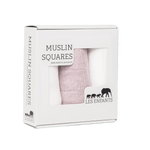 les enfants 100% bamboo muslin squares burp cloths in pink and white set in carton box
